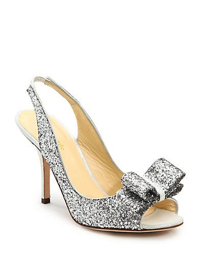 Kate Spade Charm Glitter Slingbacks In Silver