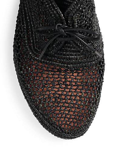 Robert Clergerie Vicoleg Woven Raffia Lace-up Wedges In Black