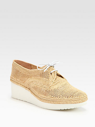 Robert Clergerie Vicoleg Woven Raffia Lace-up Wedges In Natural