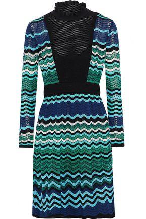 M Missoni Woman Open Knit-Paneled Metallic Crochet-Knit Dress Blue