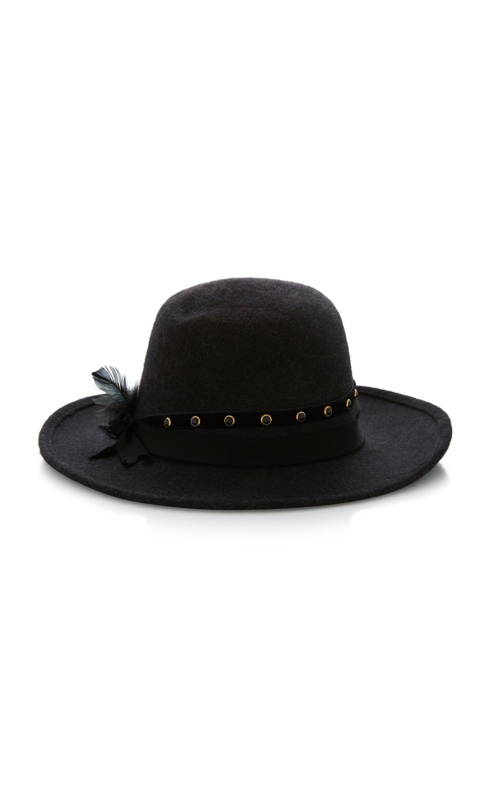 0ebe4a1bc Ryan Embellished Rabbit Fur Felt Fedora Hat in Grey