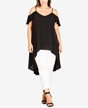 6c0e0f6ca14f3 Sweep into any scene in this fluid off-shoulder top styled with a dramatic  high low hem. Style Name  City Chic Charmer Off Shoulder High low Top (Plus  Size) ...