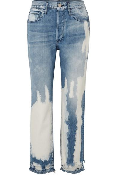89f13c91aaab13 3X1 W3 Higher Ground Bleached Distressed High-Rise Straight-Leg Jeans In Mid  Denim