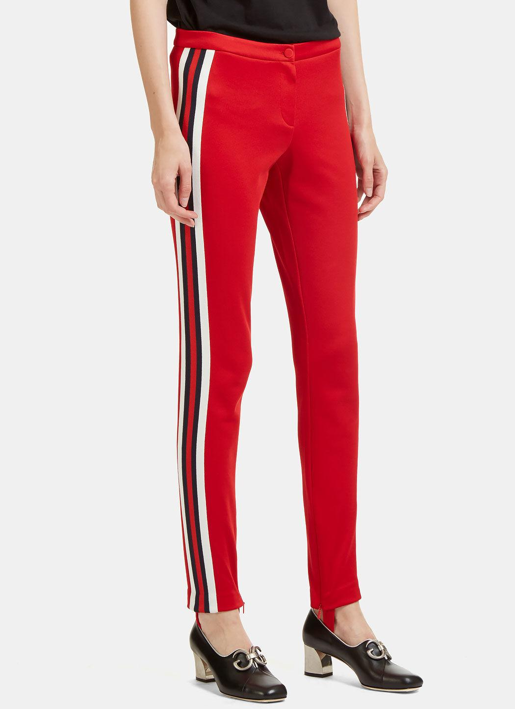 71ea56cc8be Gucci Striped Web Jersey Stirrup Leggings In Red
