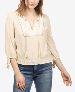 faefba101763d5 Lucky Brand Cotton Embroidered Peasant Top In Beige | ModeSens