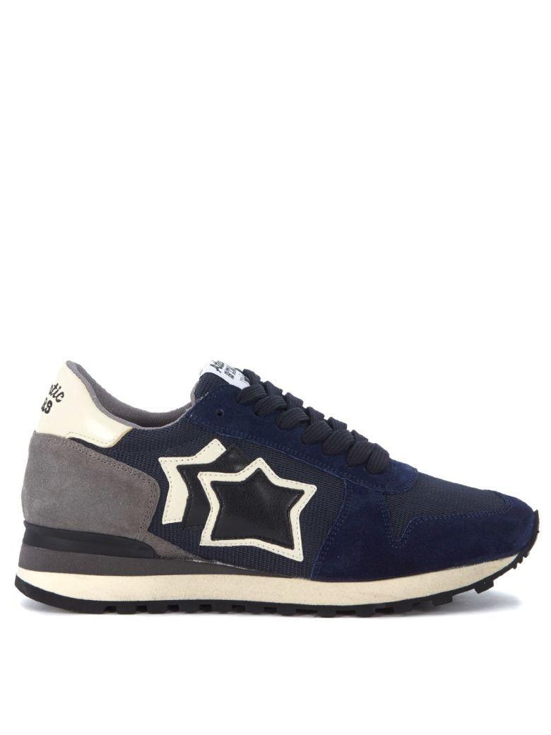 Atlantic Stars Argo Suede Leather And Mesh Sneaker In Blu