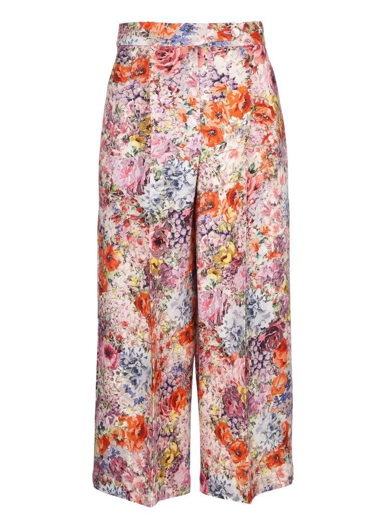 Valentino Floral Wide Trousers In Ek0