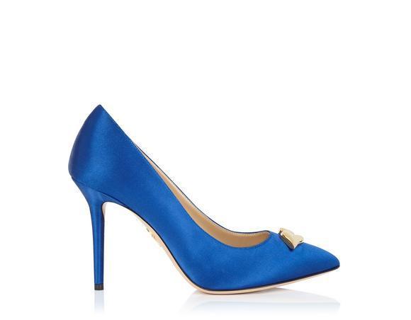 Charlotte Olympia Lippy Eva Cobalt Blue Satin Silk Pump