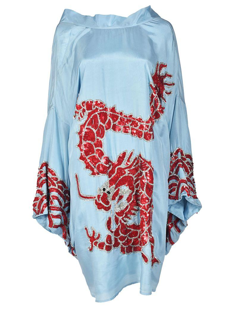 bda558ca Parosh Dragon Print Dress In Azzurro-Multicolor   ModeSens