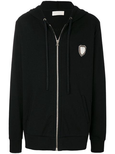 Ih Nom Uh Nit Long Embroidered Hoodie In Black
