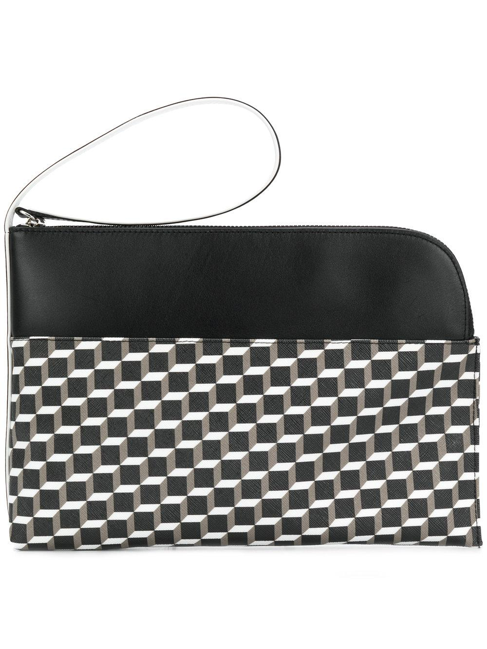 Pierre Hardy Clutch Bag In White-Black Leather