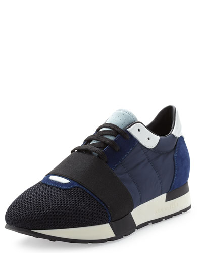 Balenciaga Multicolor Mesh & Leather Sneaker, Blue In Bleue