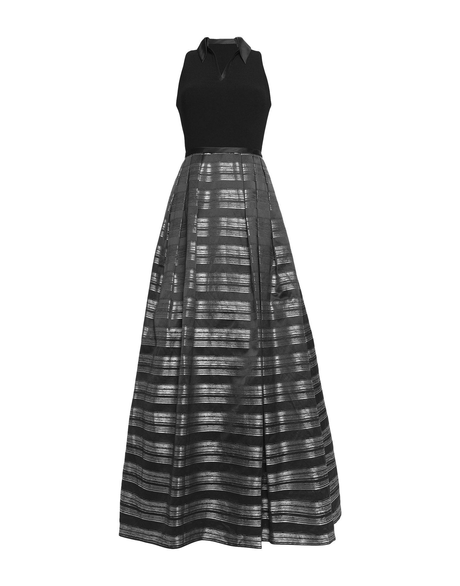 Theia Long Dress In Black Modesens