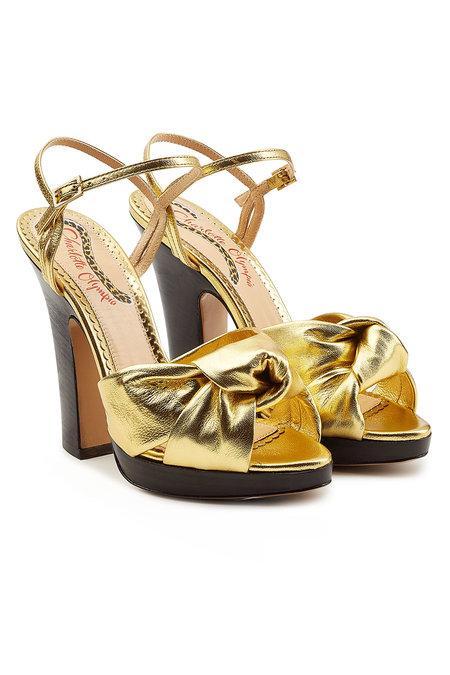 Charlotte Olympia Farrah Metallic Leather Platform Sandals In Gold