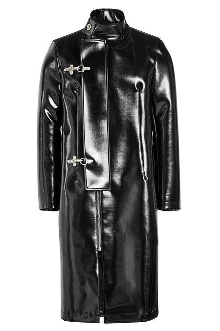 Raf Simons Faux Leather Coat In Black