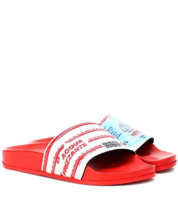 Vetements Water Bottle-print Slides In Red