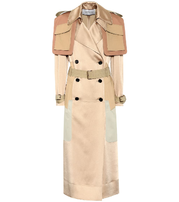Valentino Oversized Patchwork Hammered-Satin Trench Coat In Beige