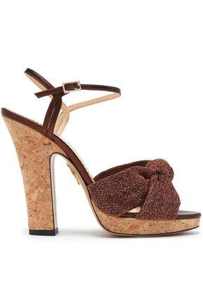 Charlotte Olympia Woman Farrah Knotted Lurex And Metallic Leather Cork Platform Sandals Bronze