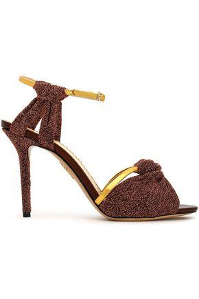 Charlotte Olympia Woman Knotted Lurex And Metallic Leather Sandals Copper