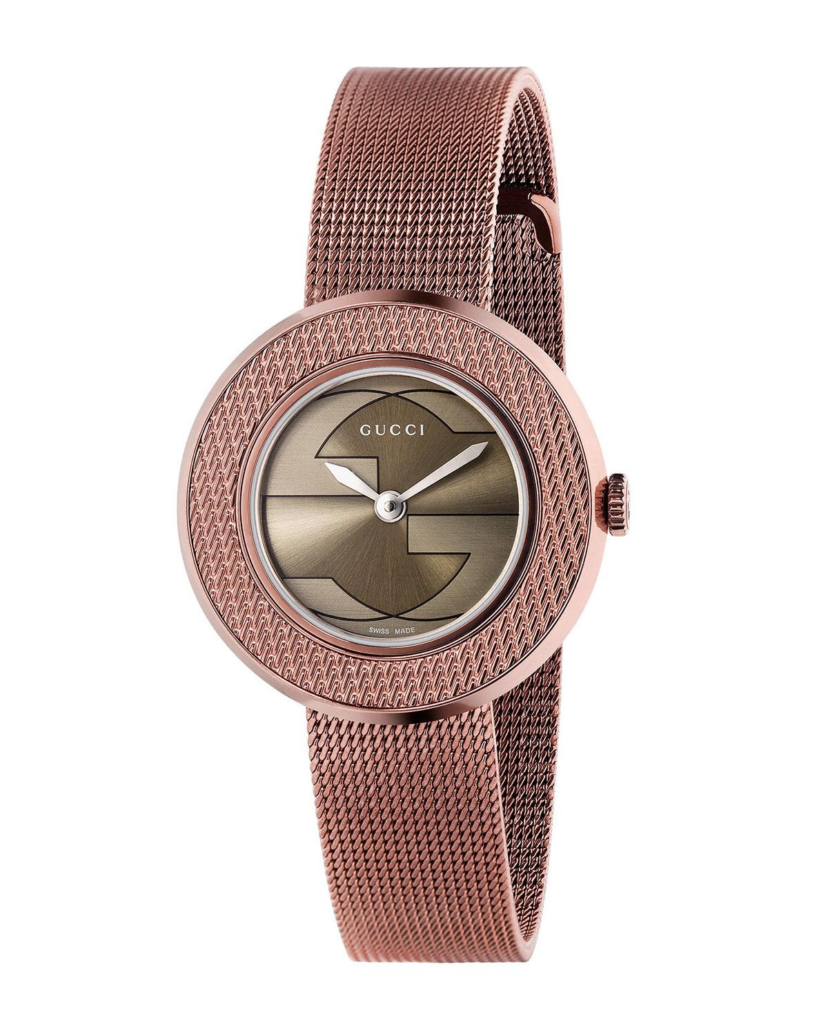 940119dcbc1 Gucci U-Play Round Pvd-Finish Mesh Bracelet Watch
