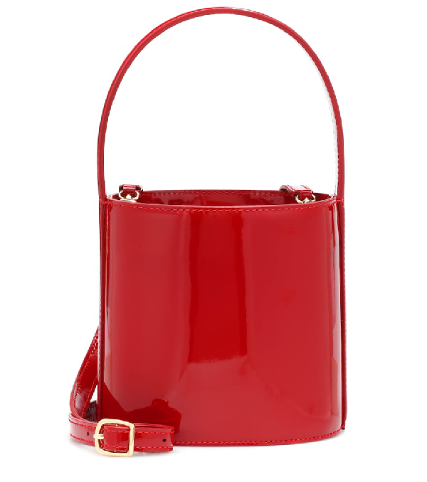 Staud Bissett Patent Leather Bucket Bag In Red