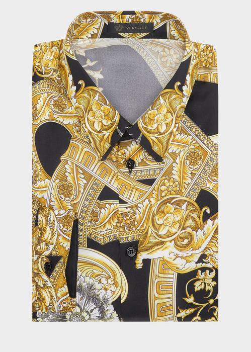 a3db8672f6a23e Versace Silk Twill Barocco Istante Shirt In Print