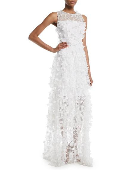 Milly Siena Sleeveless 3D Embroidered Tulle Gown In Ivory