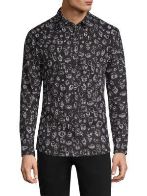 44db6663a Hugo Boss Scribble-Print Button Down Shirt In Black | ModeSens