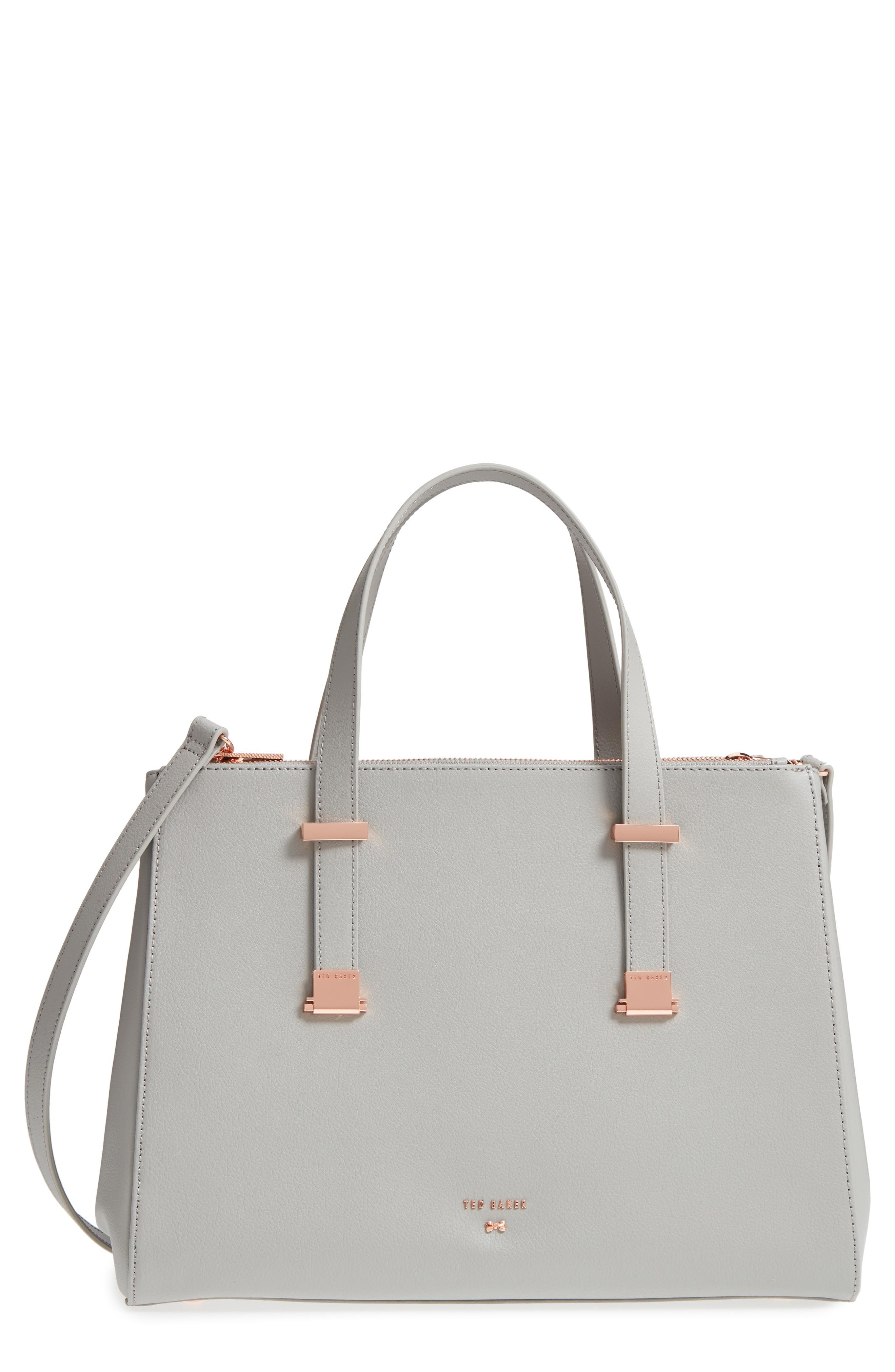 9e18746b61d Ted Baker Aminaa Large Adjustable Handle Leather Shopper - Grey In ...