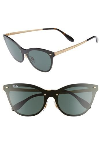 1f5b055b0 Ray Ban Blaze 58Mm Mirrored Cat Eye Sunglasses - Gold/ Green | ModeSens