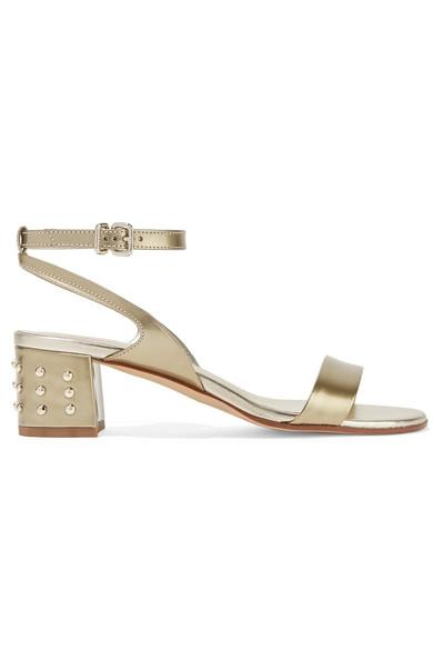Tod's Studded Metallic Leather Sandals In Gold