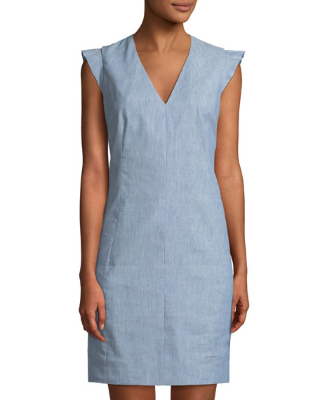 T Tahari V-Neck Chambray Sheath Dress W/ Ruffled Shoulders In Blue