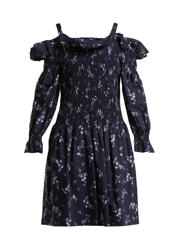 Rebecca Taylor Francine Off-the-shoulder Cotton Dress In Navy