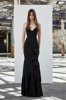 Alex Perry Carrie-Black Sleeveless Satin Ruffle Gown