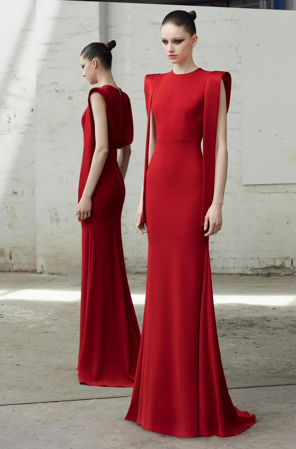 19c9a2423d2 ALEX PERRY. Pre Fall 2018 Alex Perry Alex Red Satin Draped Gown