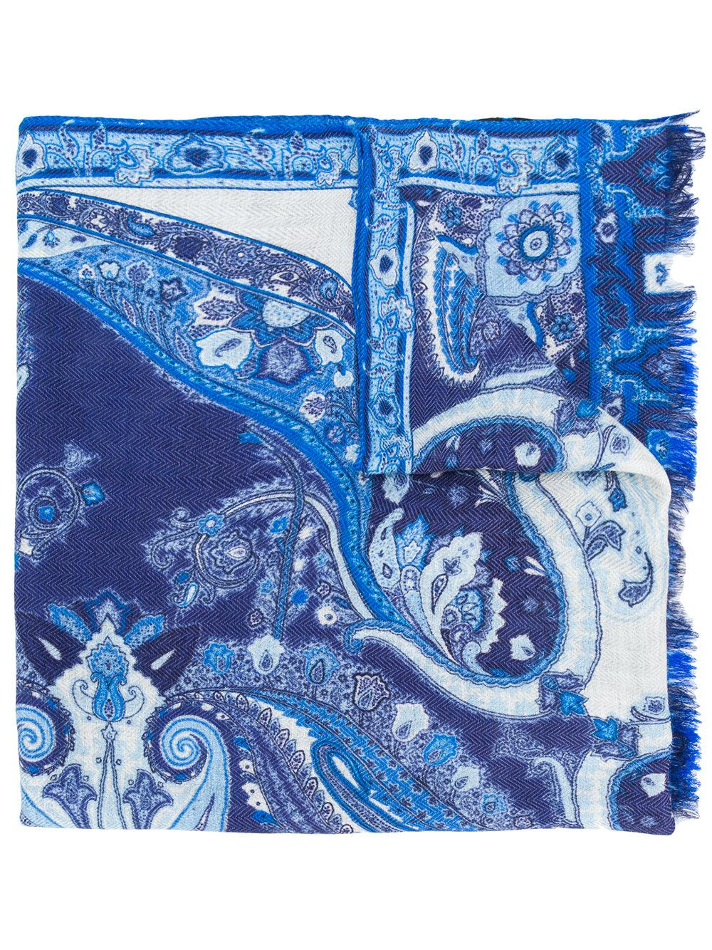 Etro Mixed Print Scarf - Blue