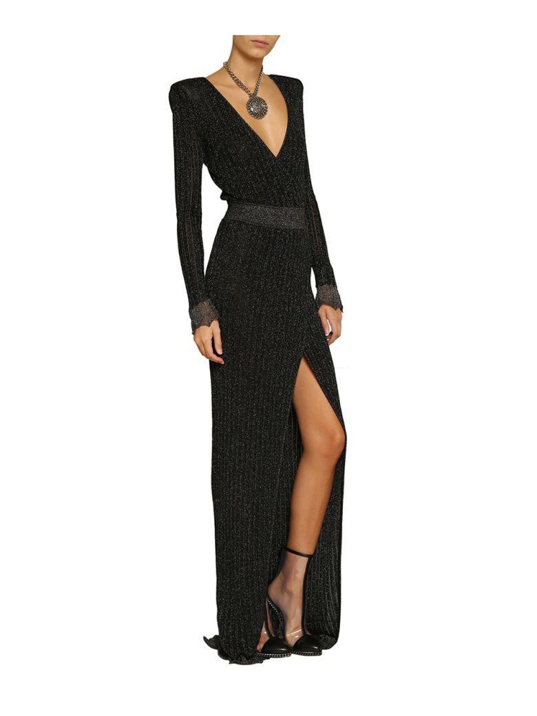 5e691abbd04 Balmain Wrap-Effect Metallic Ribbed Stretch-Knit Gown In Black ...
