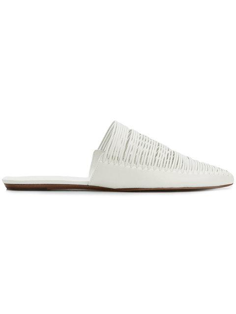 3769b6f85b3 Tory Burch Sienna Point-Toe Leather Mule Flats In White