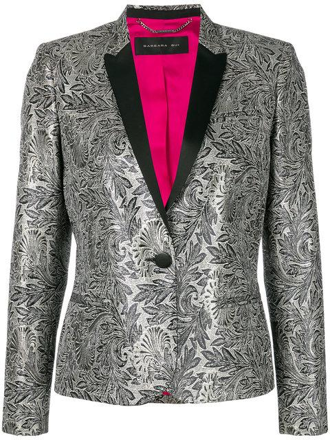 Barbara Bui Embroidered Fitted Blazer In Grey