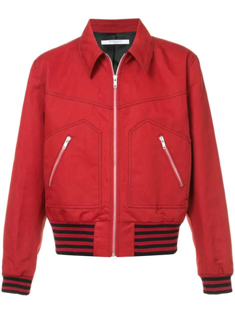 Givenchy Garbadine Zipped Blousond Jacket In Red