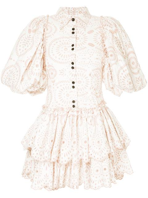 Aje Embroidered Ruffled Dress