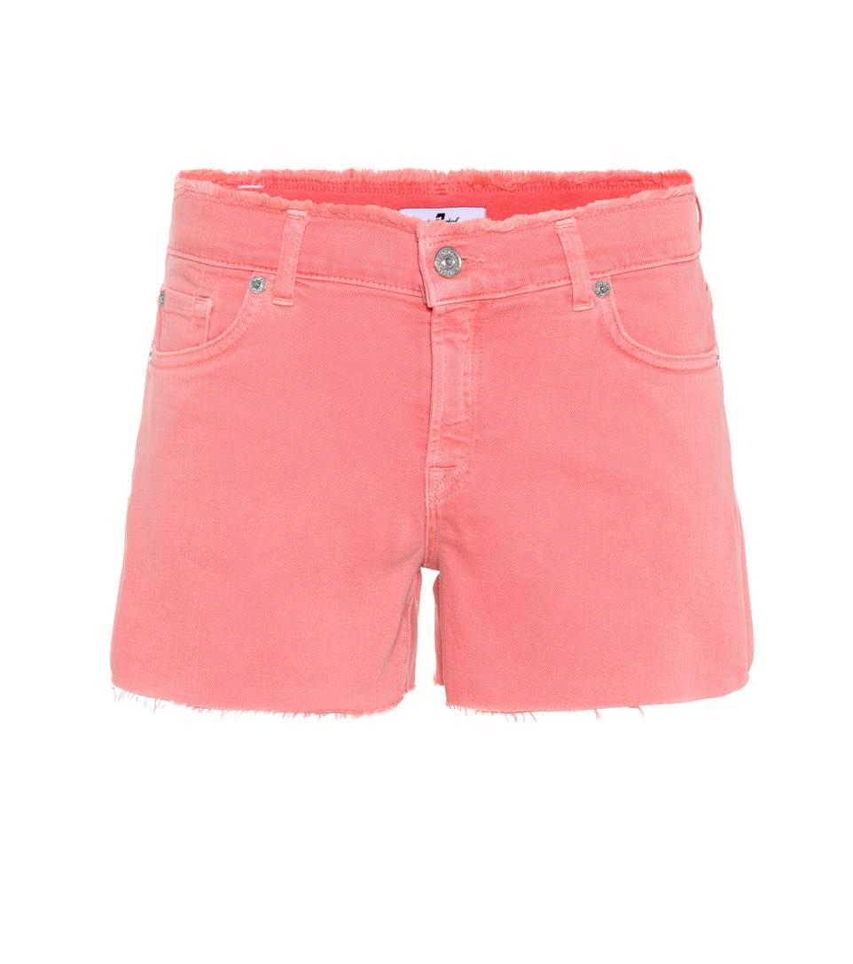 7 For All Mankind Mid-rise Denim Shorts In Pink