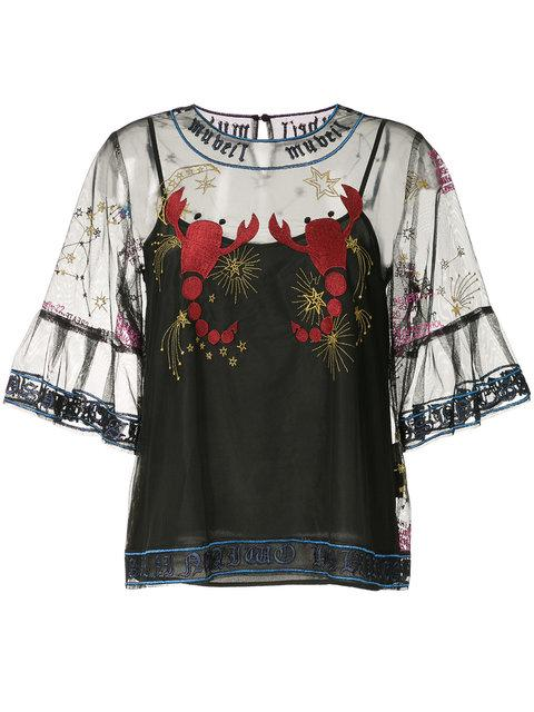 Muveil Embroidered Mesh Blouse In Black