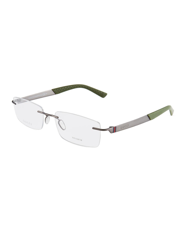 cc8d34e7bd Gucci Square Titanium Rimless Optical Glasses In Dark Gray