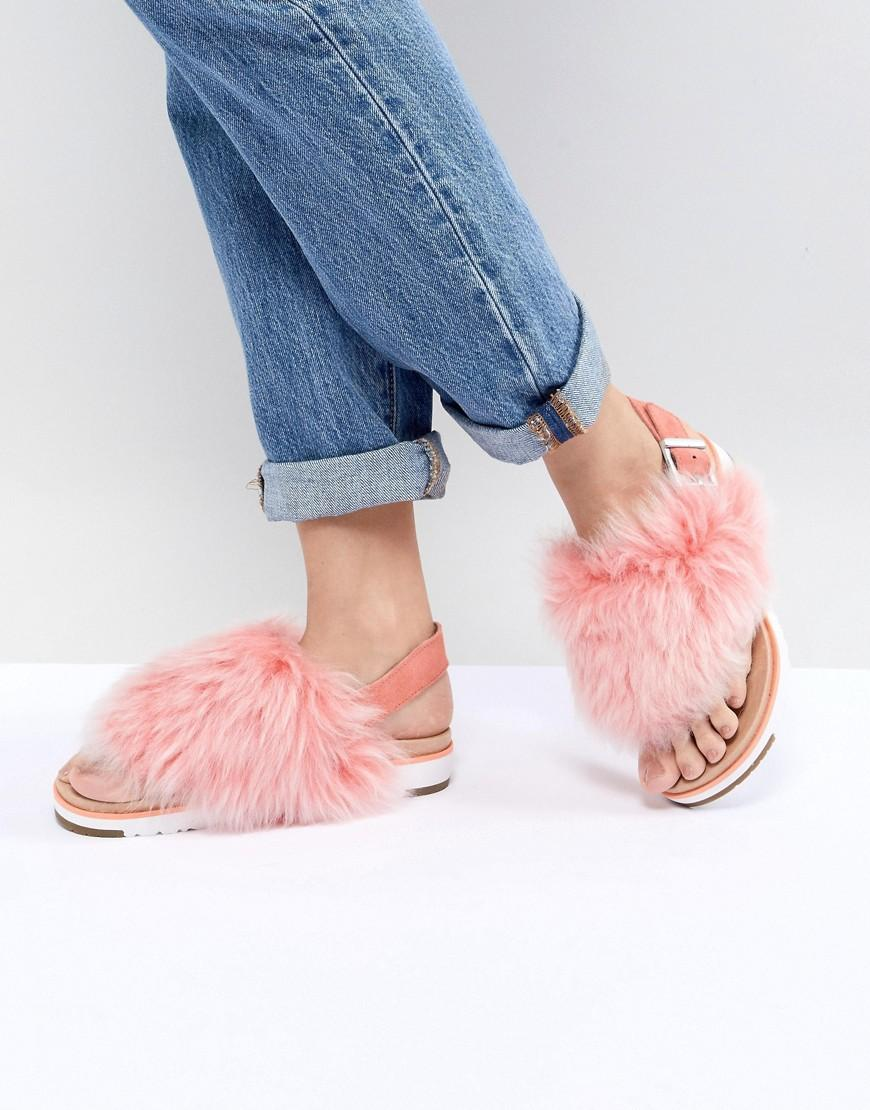 f84cc92c237 Holly Pink Fluffy Buckle Back Flat Sandals - Pink