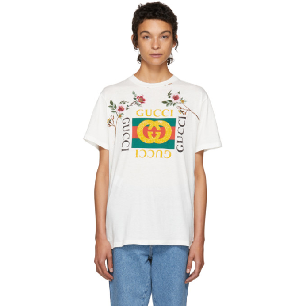 Gucci Gg-print T-shirt With Floral Patches, White