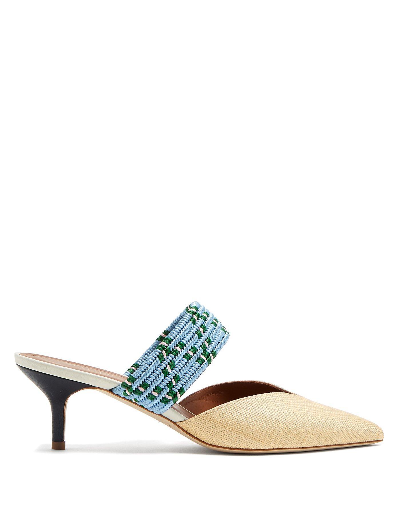 Malone Souliers Masie Raffia Heeled Mules In Oatmeal/light Blue/white