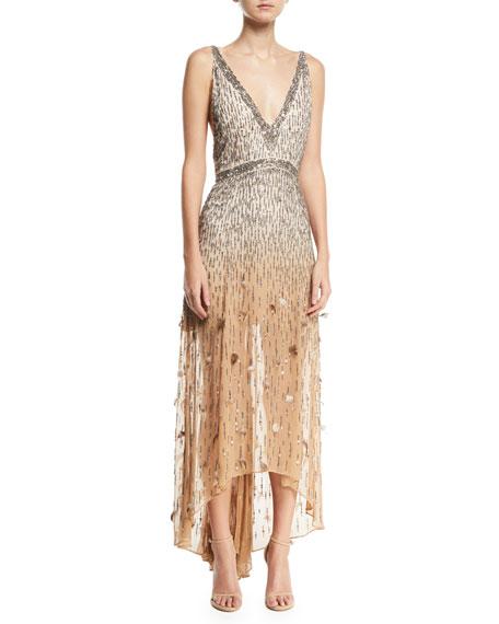 Haute Hippie Criminal Love Embellished V-neck Gown In Champagne