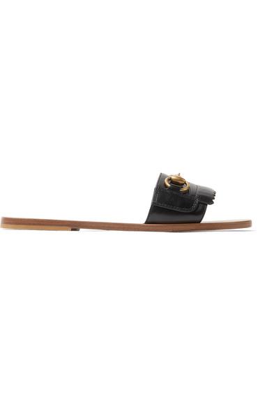 07e7e1ca907e GUCCI Women s Varadero Fringe Leather Slide Sandals in Black. Gucci Women