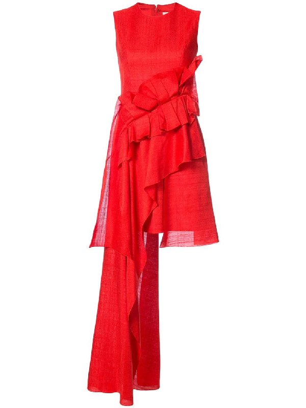 Delpozo Ruffle Trim Asymmetric Dress